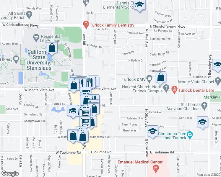map of restaurants, bars, coffee shops, grocery stores, and more near 3201-3291 Fosberg Road in Turlock