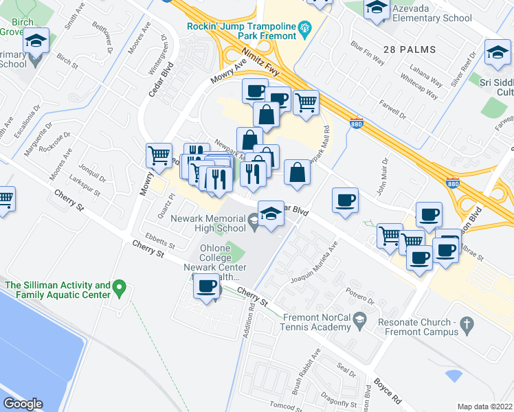 map of restaurants, bars, coffee shops, grocery stores, and more near 39501-39523 Cedar Boulevard in Newark