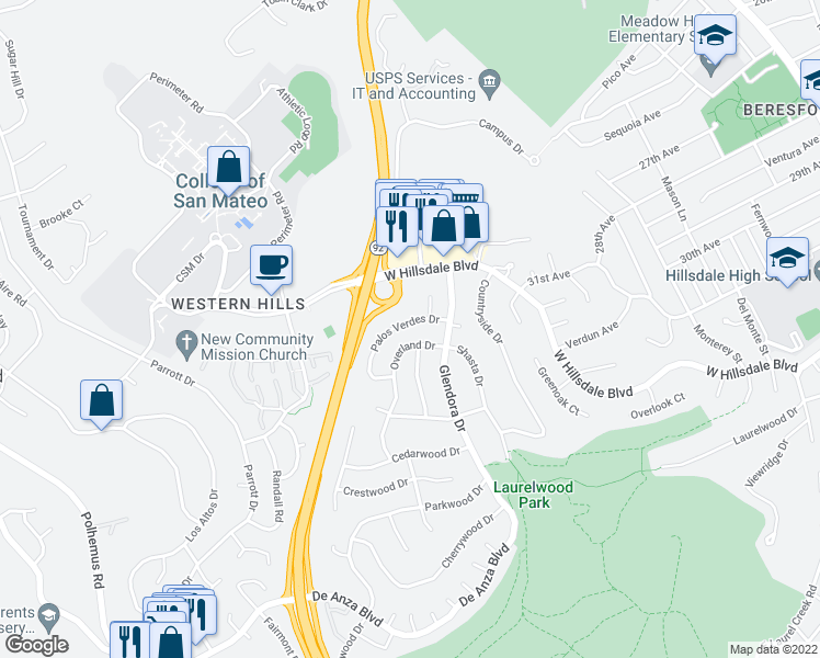 map of restaurants, bars, coffee shops, grocery stores, and more near 1333 Palos Verdes Drive in San Mateo