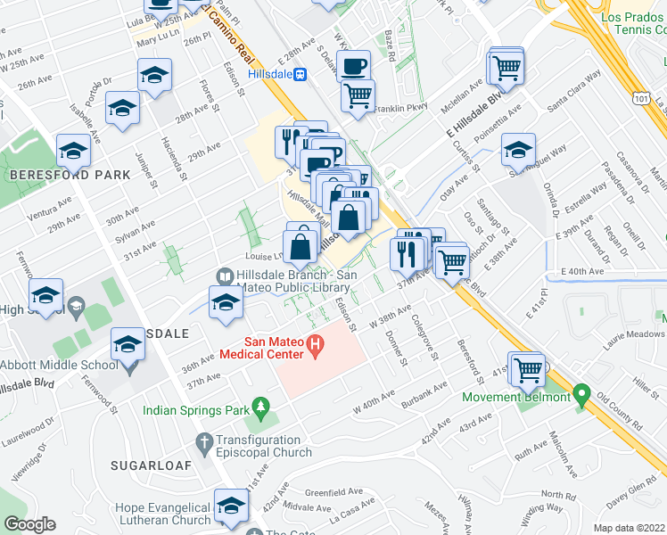 map of restaurants, bars, coffee shops, grocery stores, and more near 3557-3591 Edison Street in San Mateo