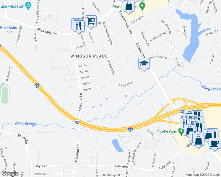 map of restaurants, bars, coffee shops, grocery stores, and more near 4417 Foxfire Lane in Richmond