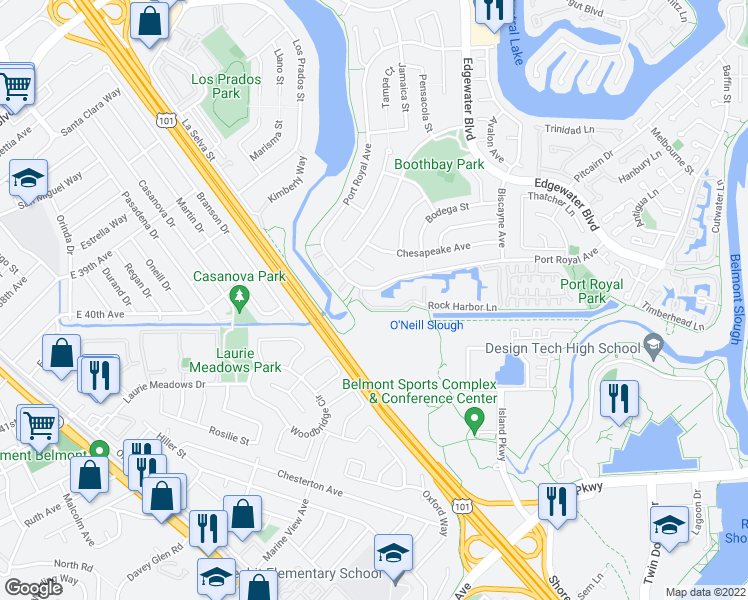 map of restaurants, bars, coffee shops, grocery stores, and more near 244 Rock Harbor Lane in Foster City
