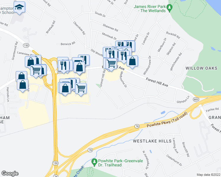 map of restaurants, bars, coffee shops, grocery stores, and more near 2692-2698 Granite Hill Circle in Richmond