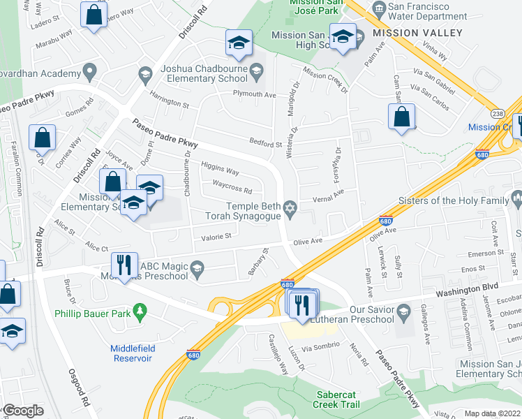 map of restaurants, bars, coffee shops, grocery stores, and more near Mento Drive in Fremont