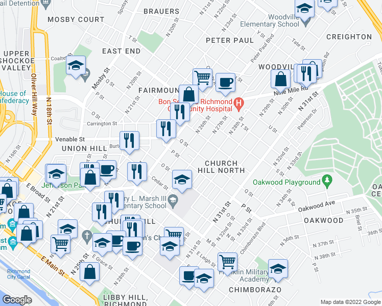map of restaurants, bars, coffee shops, grocery stores, and more near 2621 Q Street in Richmond