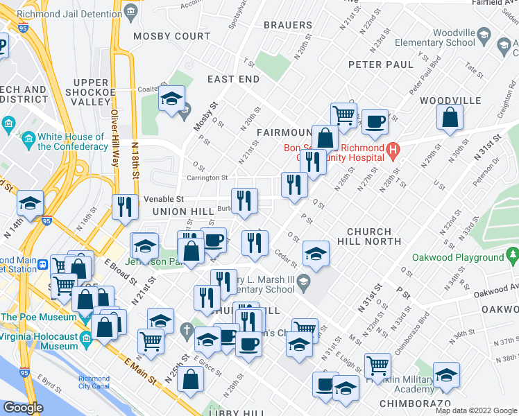 map of restaurants, bars, coffee shops, grocery stores, and more near 2309 O Street in Richmond