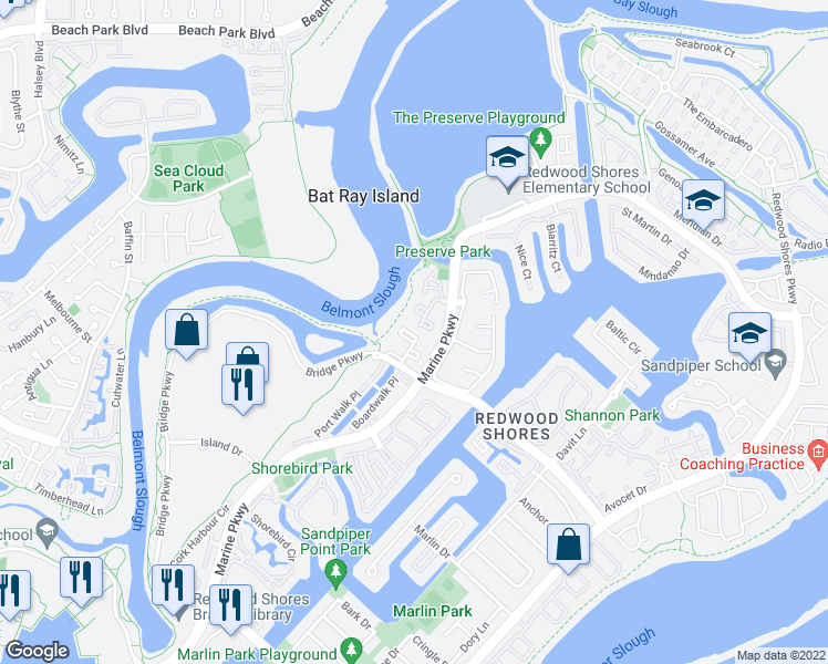 map of restaurants, bars, coffee shops, grocery stores, and more near 801 Marine Parkway in Redwood City