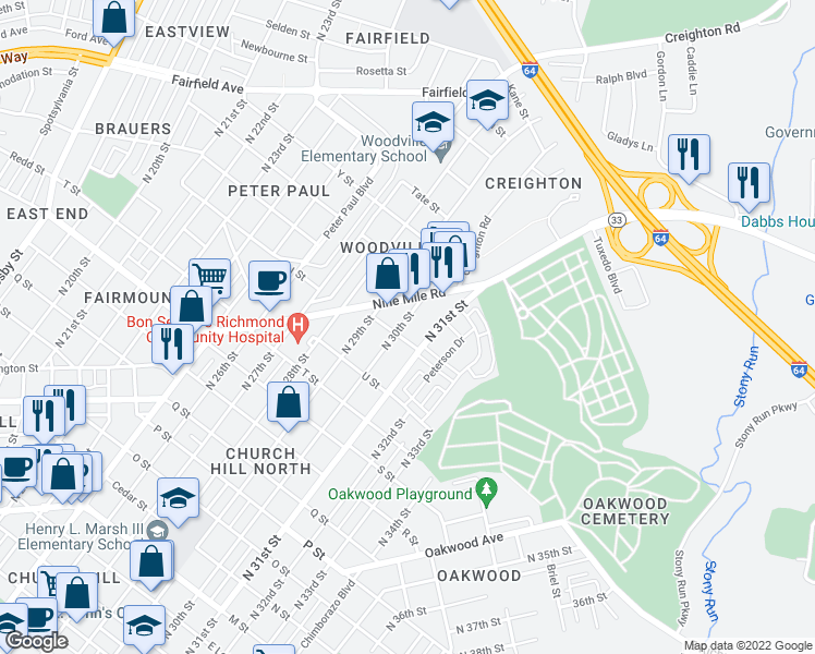 map of restaurants, bars, coffee shops, grocery stores, and more near 1601 North 30th Street in Richmond