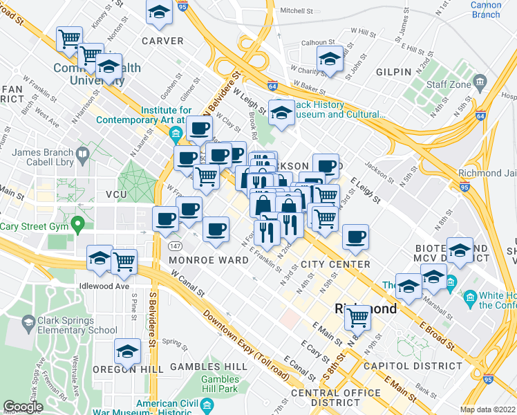 map of restaurants, bars, coffee shops, grocery stores, and more near 17 West Broad Street in Richmond