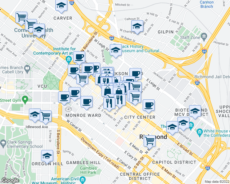 map of restaurants, bars, coffee shops, grocery stores, and more near 10 East Broad Street in Richmond