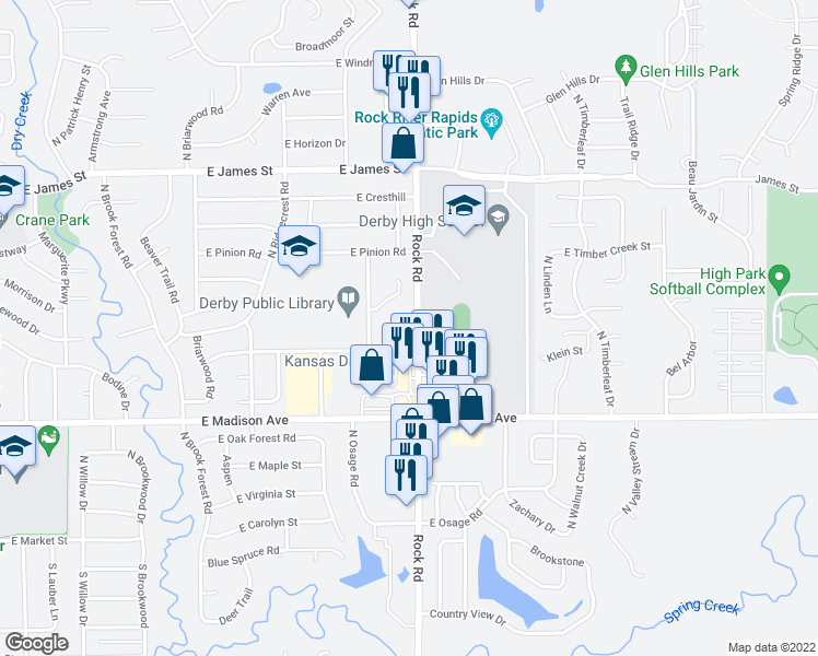 map of restaurants, bars, coffee shops, grocery stores, and more near 720 Pin Oak Court in Derby
