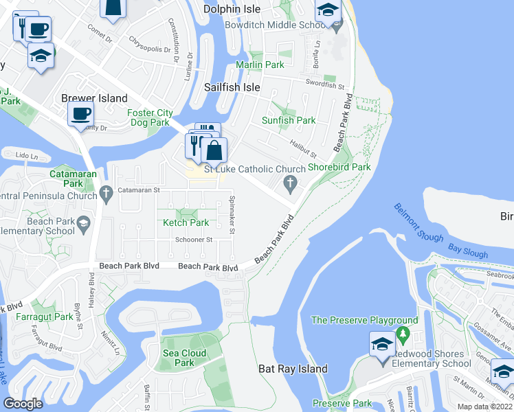 map of restaurants, bars, coffee shops, grocery stores, and more near 1081 Beach Park Boulevard in Foster City