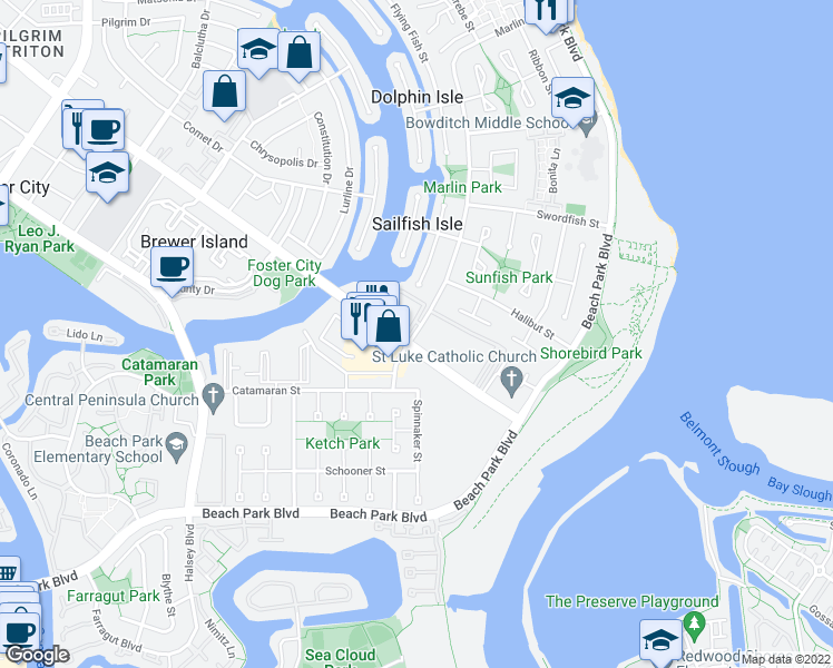 map of restaurants, bars, coffee shops, grocery stores, and more near 1055 Foster City Boulevard in Foster City