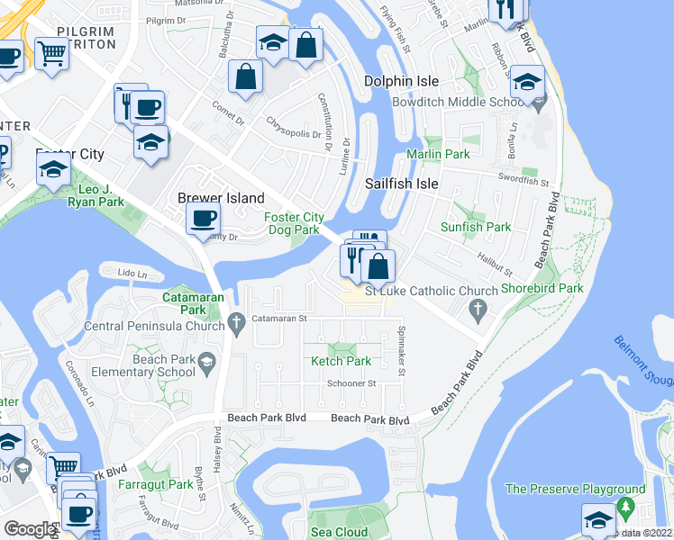 map of restaurants, bars, coffee shops, grocery stores, and more near 1000 Foster City Boulevard in Foster City