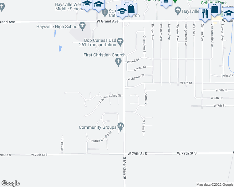map of restaurants, bars, coffee shops, grocery stores, and more near 551 Blue Stem Circle in Haysville