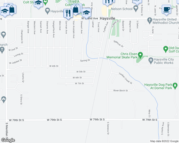 map of restaurants, bars, coffee shops, grocery stores, and more near West 5th Street in Haysville