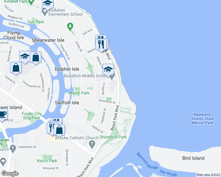 map of restaurants, bars, coffee shops, grocery stores, and more near 1301-1399 Beach Park Boulevard in Foster City
