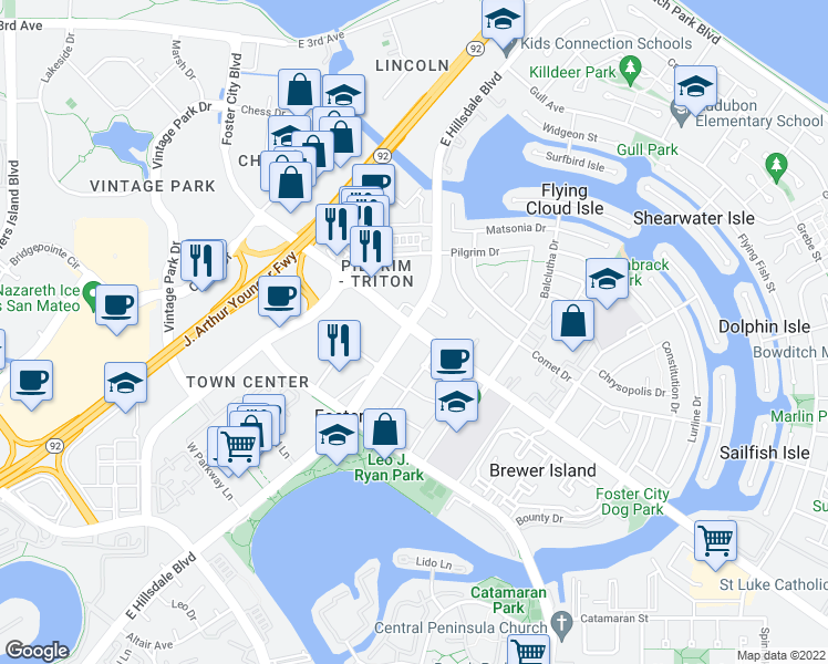 map of restaurants, bars, coffee shops, grocery stores, and more near 582-598 Foster City Boulevard in Foster City
