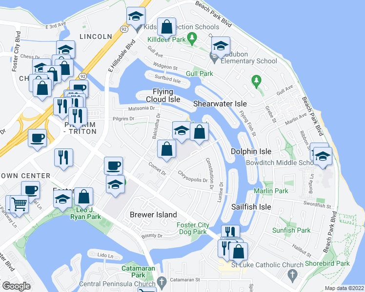map of restaurants, bars, coffee shops, grocery stores, and more near 761-789 Nina Lane in Foster City