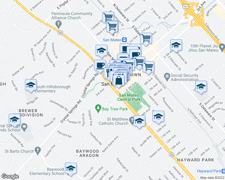 map of restaurants, bars, coffee shops, grocery stores, and more near 4 West 4th Avenue in San Mateo