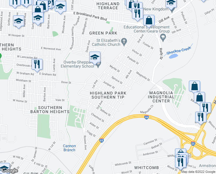 map of restaurants, bars, coffee shops, grocery stores, and more near 2210 3rd Avenue in Richmond