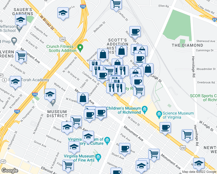map of restaurants, bars, coffee shops, grocery stores, and more near 1100-1198 North Belmont Avenue in Richmond