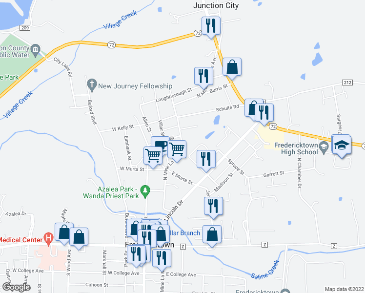 map of restaurants, bars, coffee shops, grocery stores, and more near 33-99 Hillcrest Drive in Fredericktown