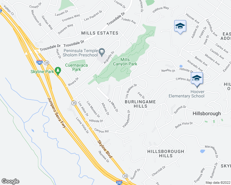 map of restaurants, bars, coffee shops, grocery stores, and more near 3039 Hillside Drive in Burlingame