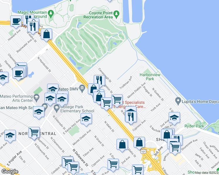 map of restaurants, bars, coffee shops, grocery stores, and more near 1401 Dore Avenue in San Mateo