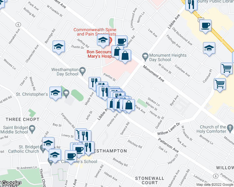 map of restaurants, bars, coffee shops, grocery stores, and more near Libbie Ave & Park Ave in Richmond