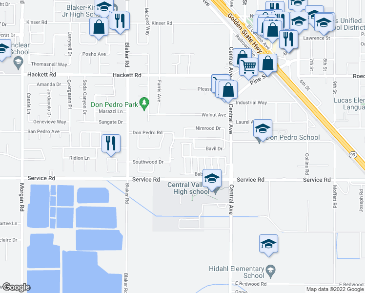 map of restaurants, bars, coffee shops, grocery stores, and more near 1837 Woodview Court in Ceres