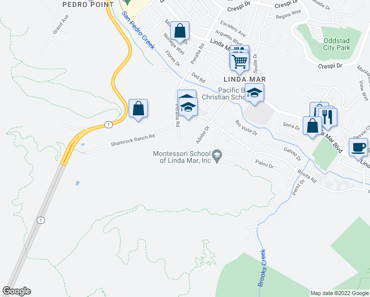 map of restaurants, bars, coffee shops, grocery stores, and more near 1580 Higgins Way in Pacifica