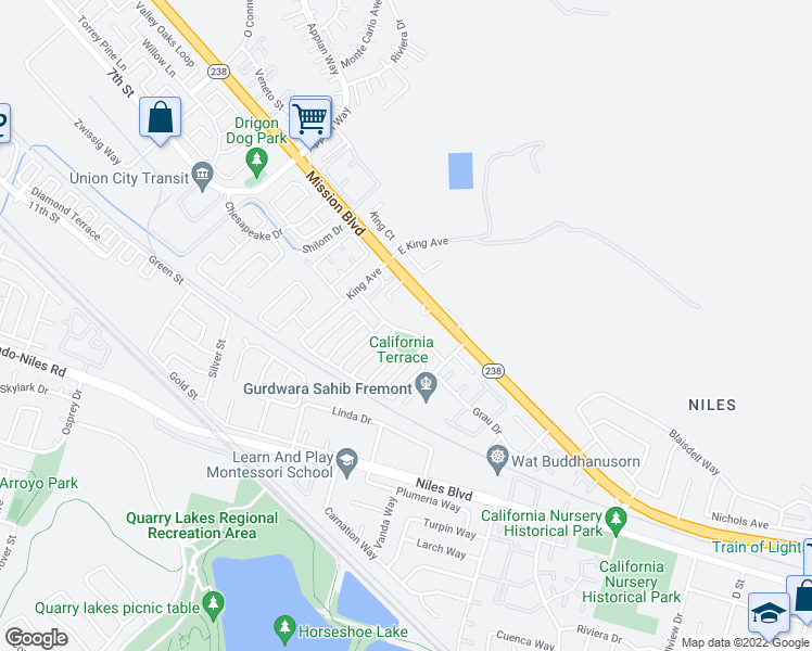 map of restaurants, bars, coffee shops, grocery stores, and more near 35624 Terrace Drive in Fremont