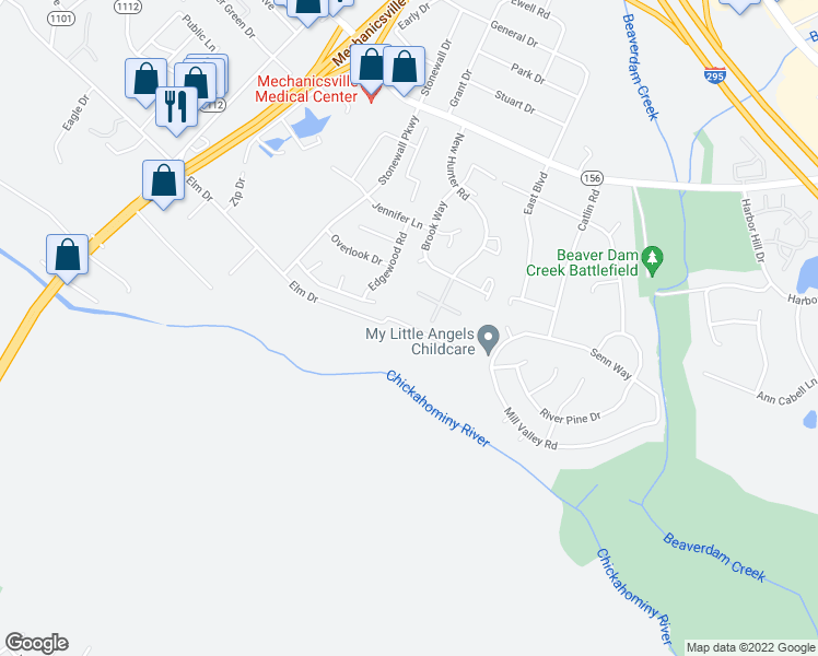 map of restaurants, bars, coffee shops, grocery stores, and more near 7800 Sporting Lane in Mechanicsville