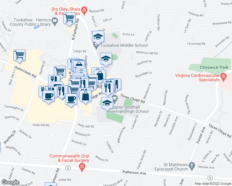 map of restaurants, bars, coffee shops, grocery stores, and more near 8900-8912 Three Chopt Road in Henrico