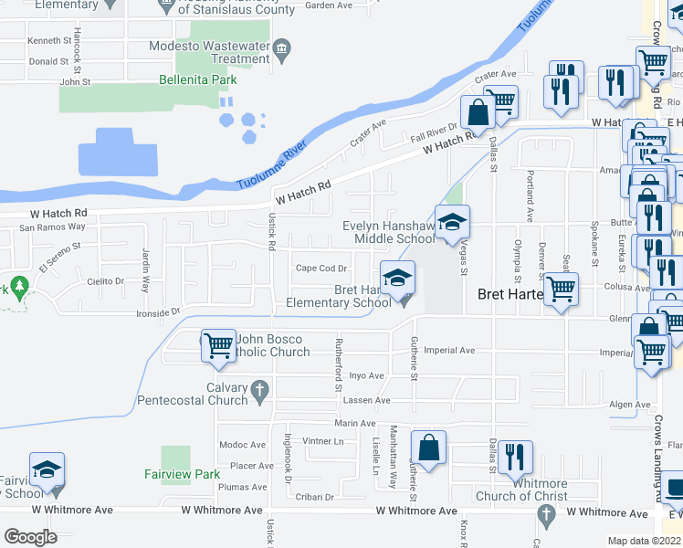 map of restaurants, bars, coffee shops, grocery stores, and more near 1208 Cape Cod Drive in Modesto