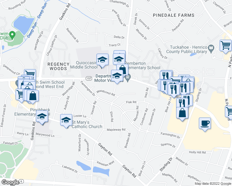 map of restaurants, bars, coffee shops, grocery stores, and more near 9302 Woodcrest Road in Henrico