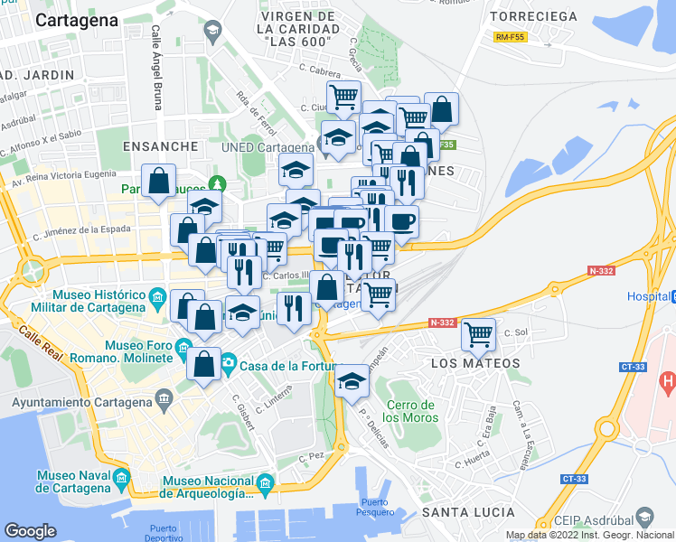 map of restaurants, bars, coffee shops, grocery stores, and more near 67 Calle Carlos III in Cartagena