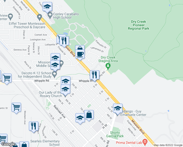 map of restaurants, bars, coffee shops, grocery stores, and more near 33339-33349 Mission Boulevard in Union City