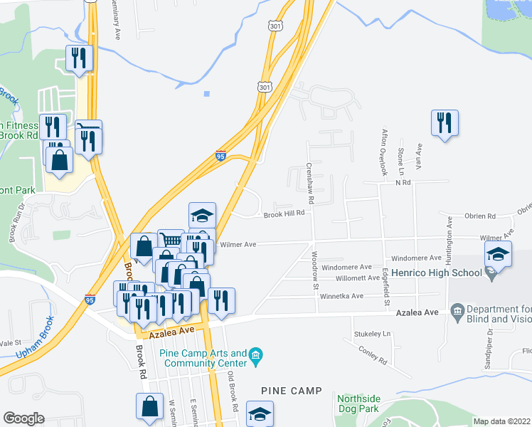map of restaurants, bars, coffee shops, grocery stores, and more near 719 Brook Hill Road in Richmond