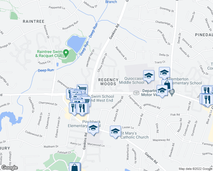 map of restaurants, bars, coffee shops, grocery stores, and more near 1507 Thistle Road in Henrico