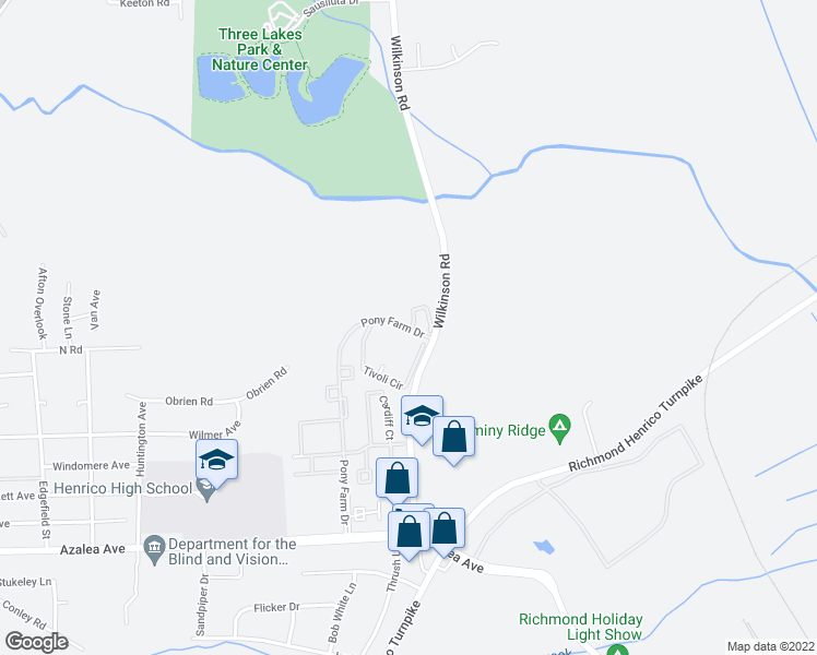 map of restaurants, bars, coffee shops, grocery stores, and more near 5701 Pony Farm Drive in Richmond