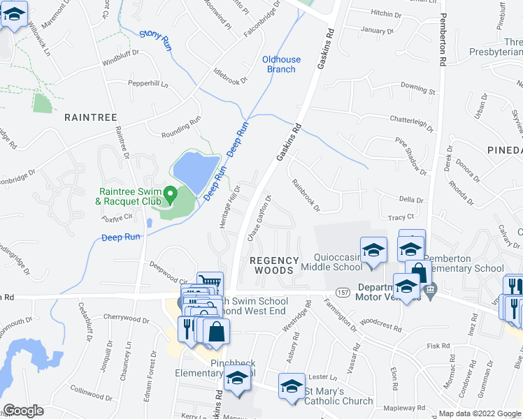 map of restaurants, bars, coffee shops, grocery stores, and more near 1 Chase Gayton Drive in Henrico