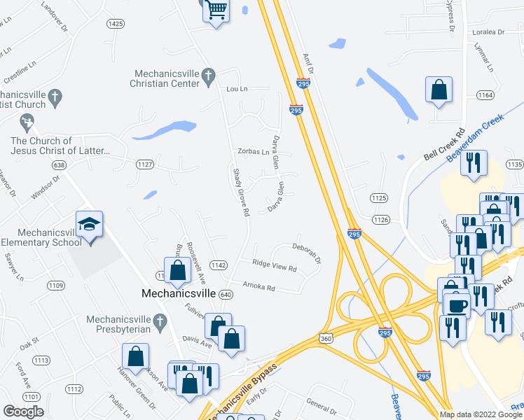map of restaurants, bars, coffee shops, grocery stores, and more near 7400-7418 Darva Glen in Mechanicsville