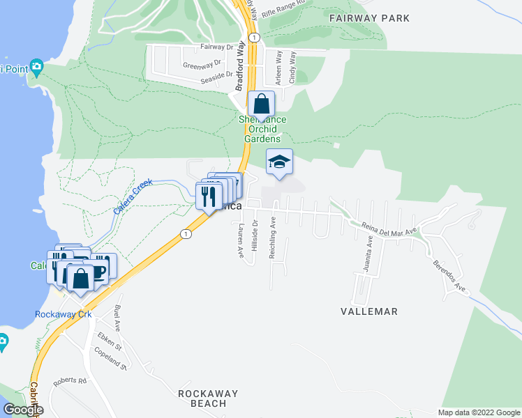 map of restaurants, bars, coffee shops, grocery stores, and more near 377 Reina Del Mar Avenue in Pacifica