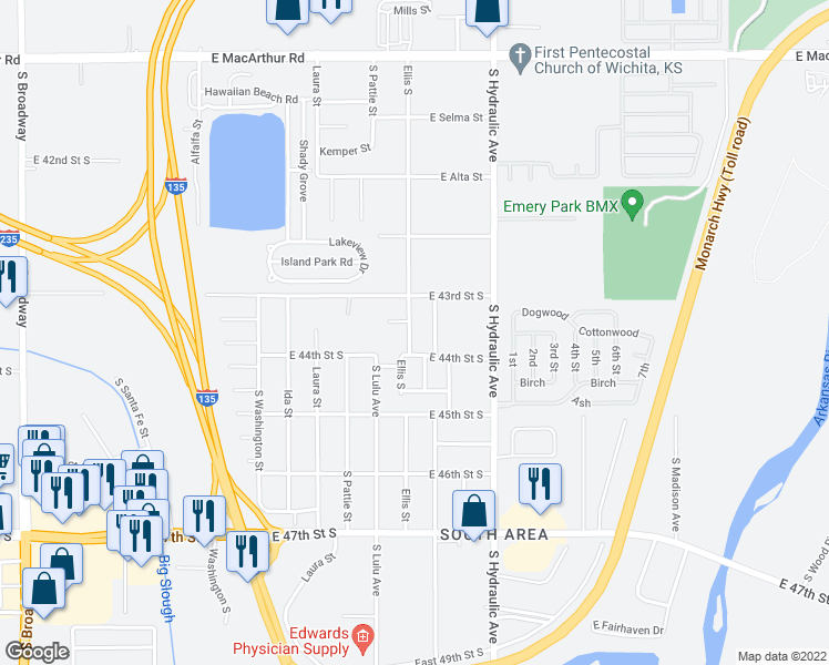 map of restaurants, bars, coffee shops, grocery stores, and more near 4426 Ellis Street in Wichita