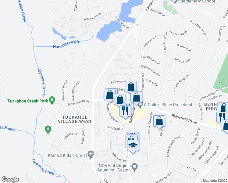 map of restaurants, bars, coffee shops, grocery stores, and more near 2500-2548 Potomac Hunt Lane in Henrico