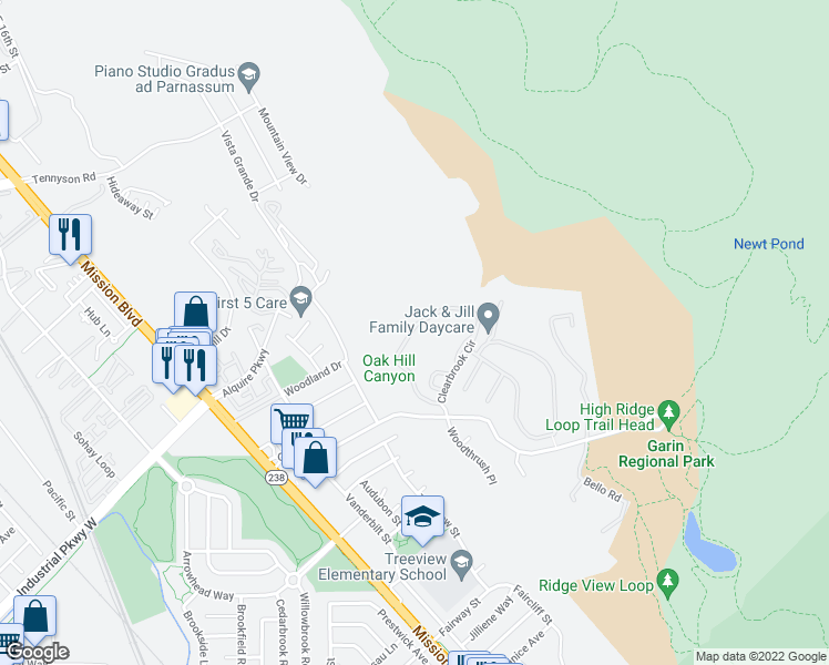 map of restaurants, bars, coffee shops, grocery stores, and more near 29843 Clearbrook Circle in Hayward