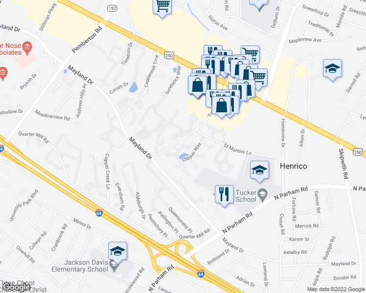 map of restaurants, bars, coffee shops, grocery stores, and more near 2337-2399 Harpoon Court in Henrico
