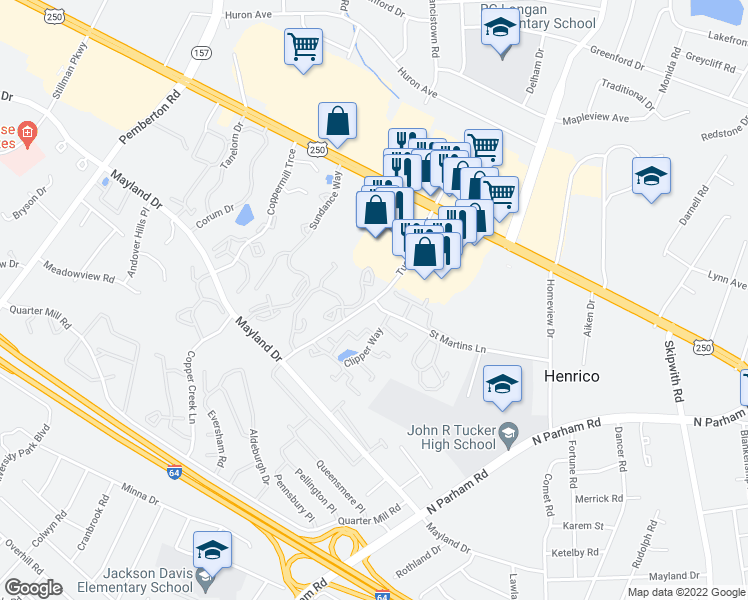 map of restaurants, bars, coffee shops, grocery stores, and more near Tuckernuck Dr & St Martin Ln in Henrico